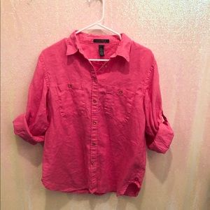 Ralph Lauren women's linen pink button down